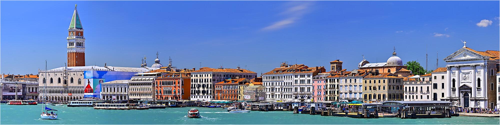 Panoramabild Blick von der Lagune auf  Venedig