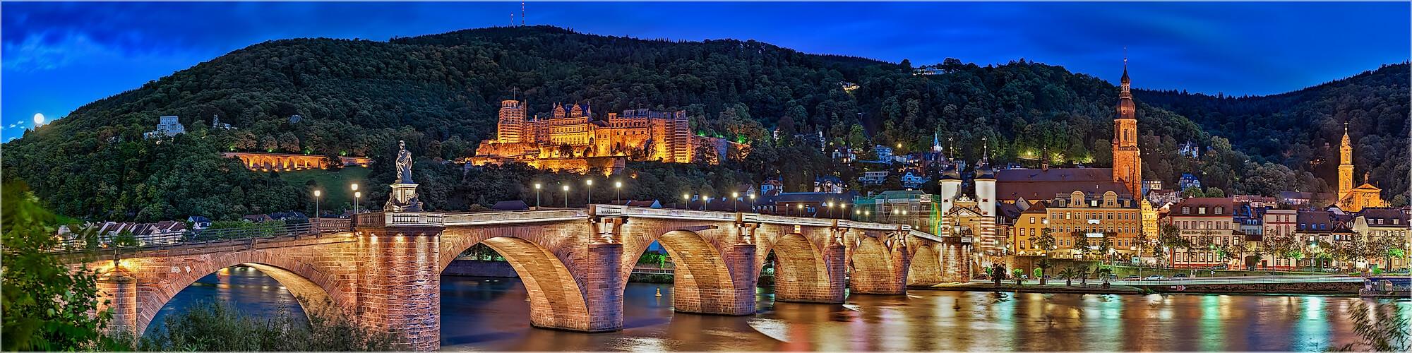 Panoramabild Heidelberger alte Brücke