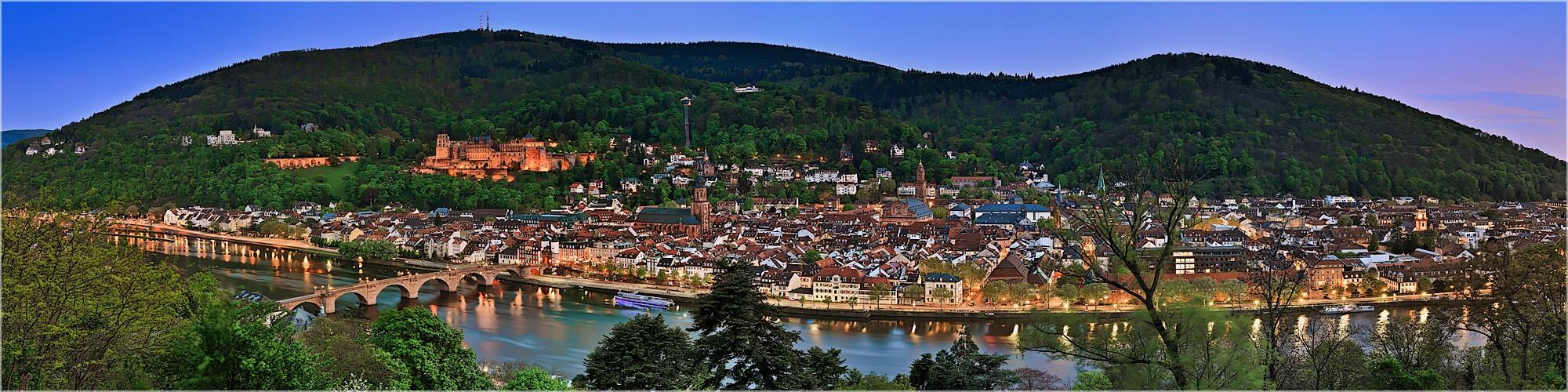 Panoramabild Abendliches Heidelberg vom Philosophenweg