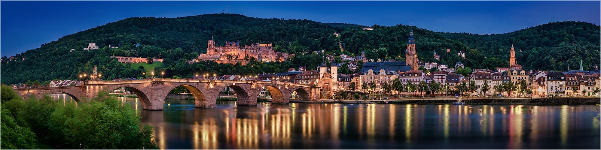 Panoramabild Heidelberger Skyline am Neckar