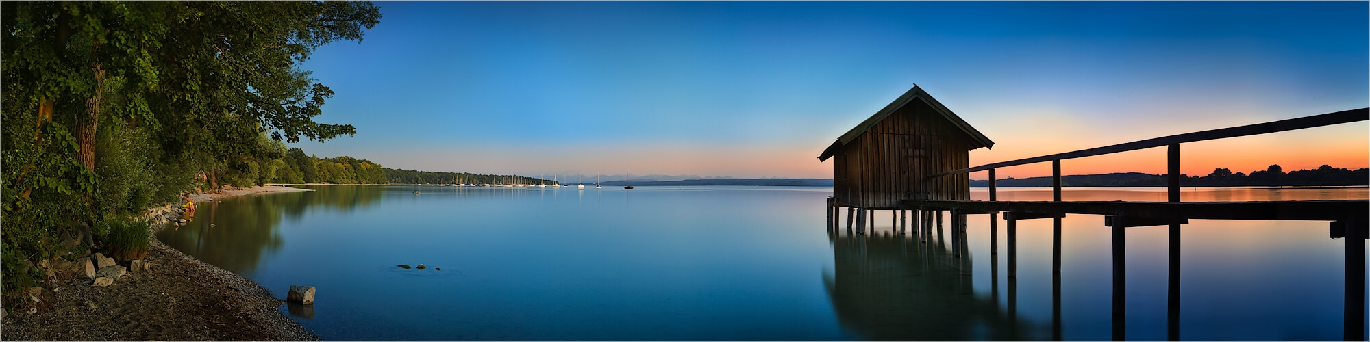 Panoramabild  Bootshaus am Ammersee