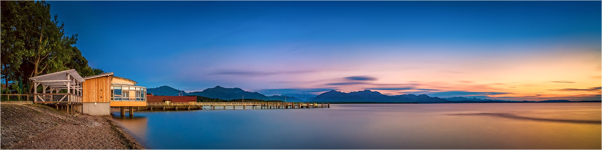 Panoramabild Sommerabend am Chiemsee