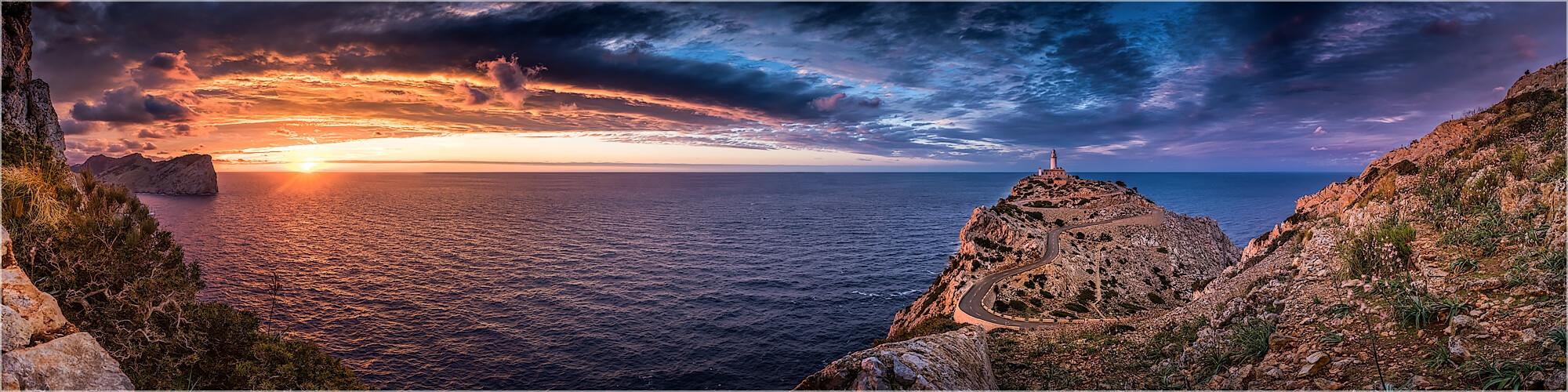 Panoramabild Mallorca Sonnenuntergang Cap Formentor