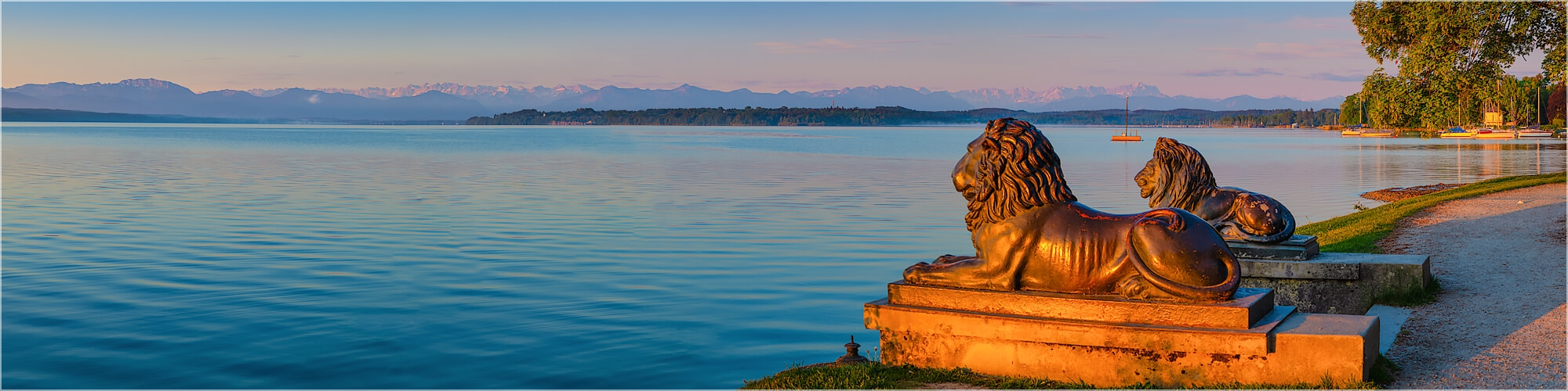 Panoramabild Bayrische Löwen Starnberger See