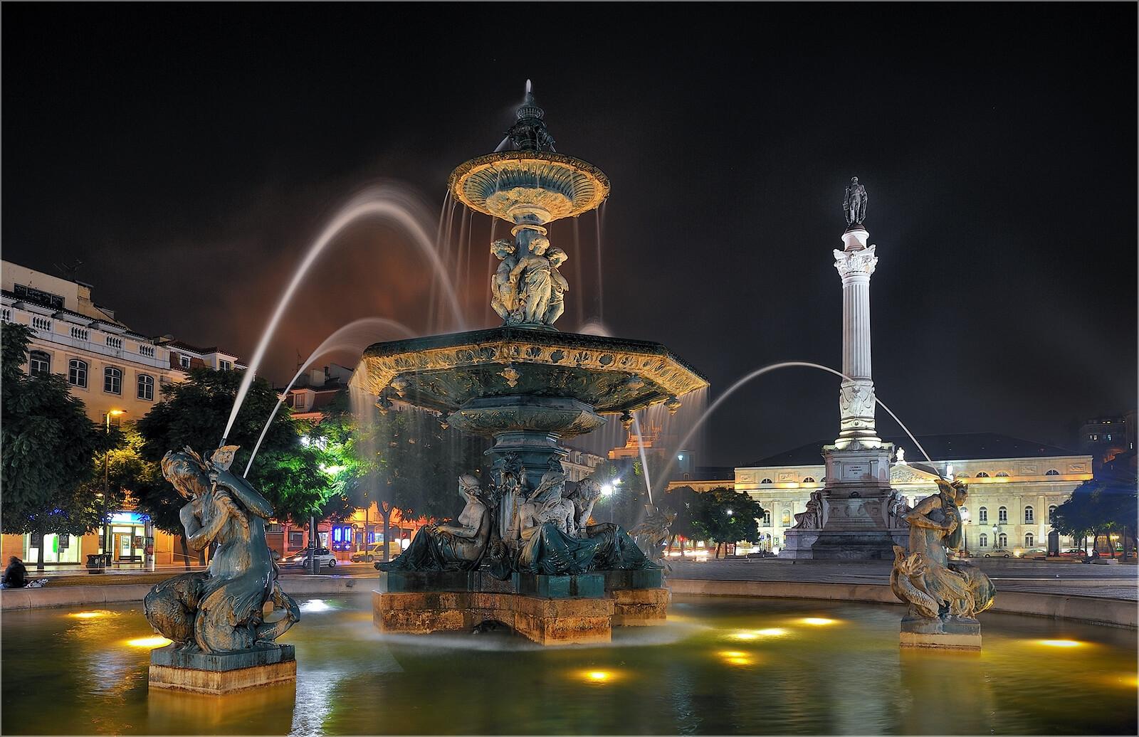 Wandbild Lissabon Brunnen am Parca Rossio
