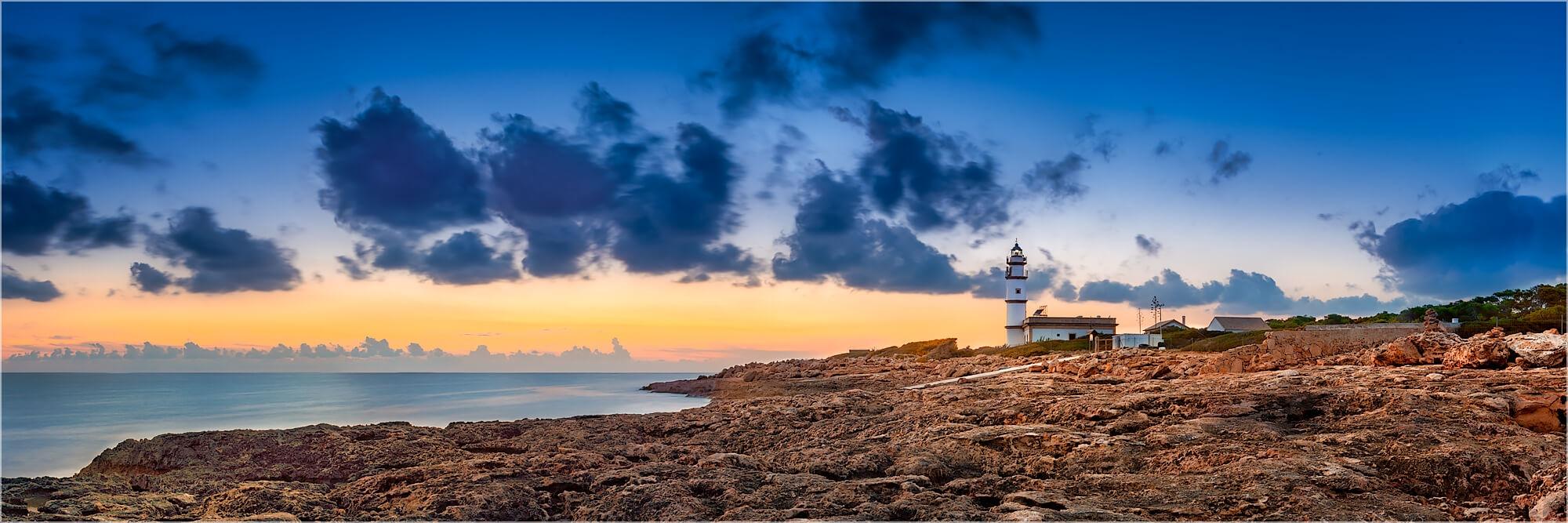 Panoramafoto Mallorca Ses Salinas Leuchtturm
