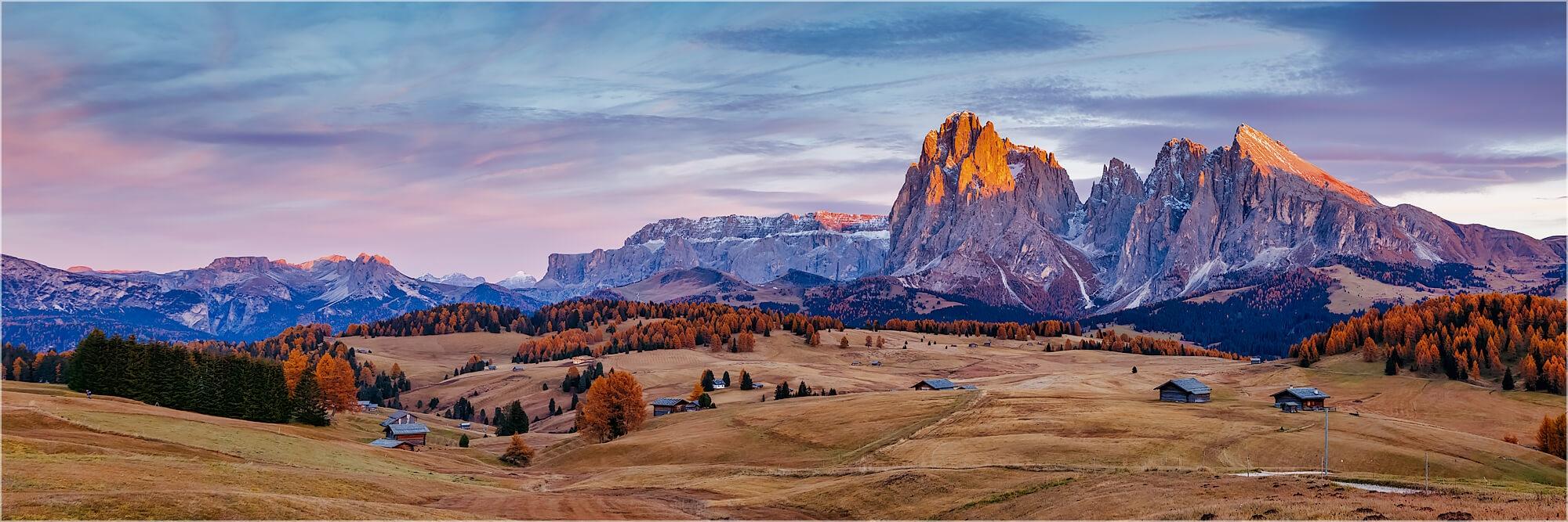 Panoramabild herbstliche Seiser Alm Südtirol