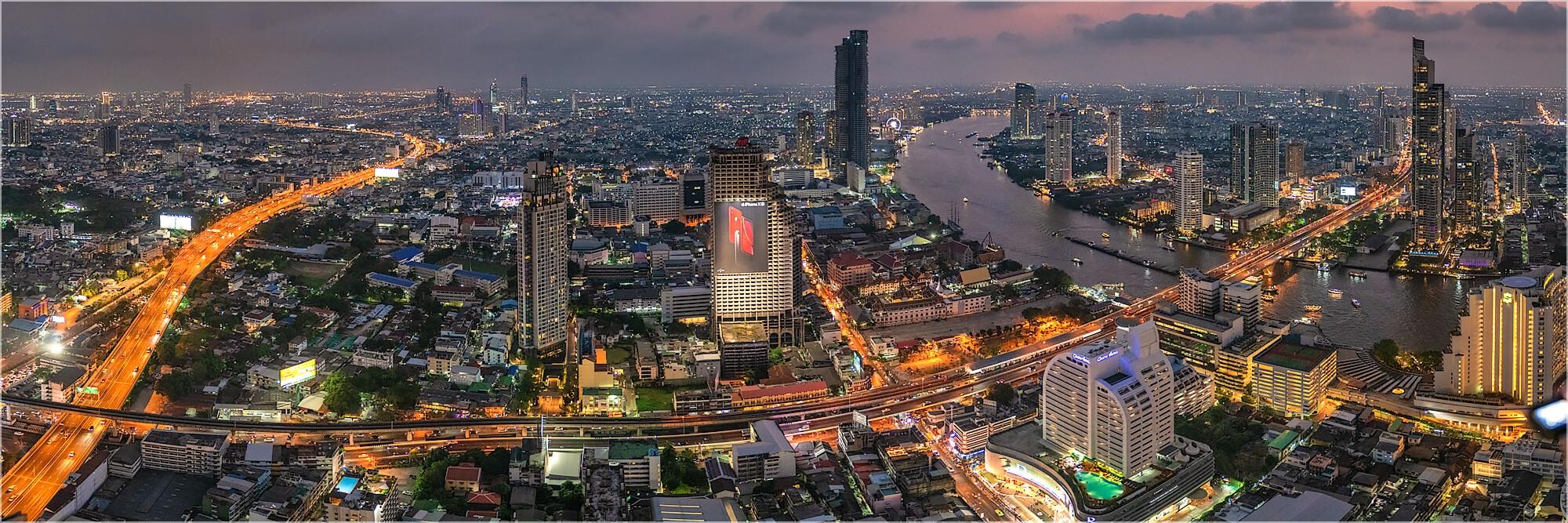 Panoramabild Skyline Stadtlandschaft Bangkok