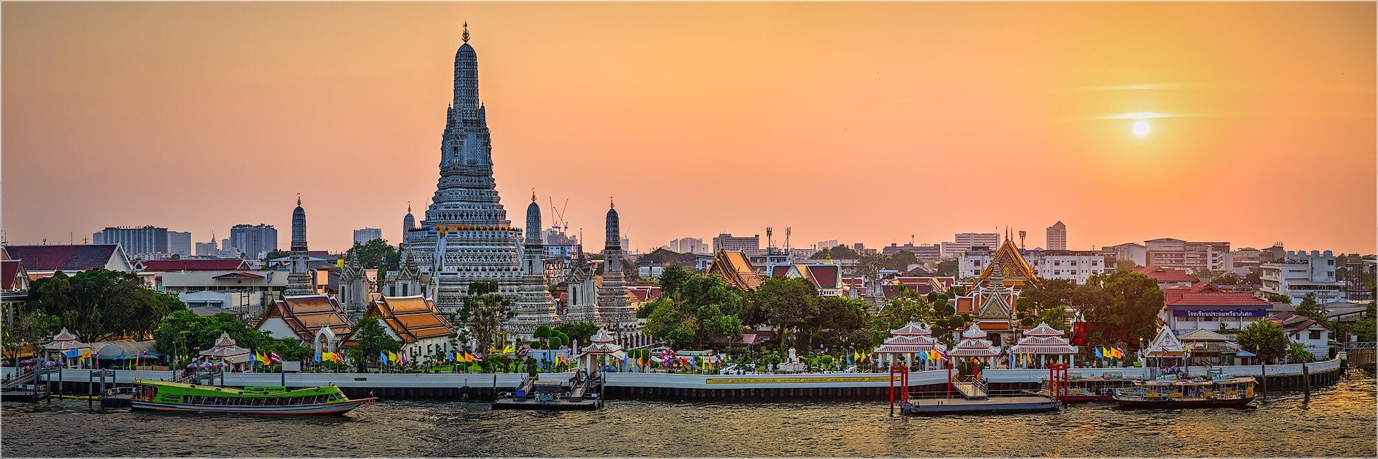 Panoramafoto Sonnenuntergang Chao Phraya Fluss Bangkok