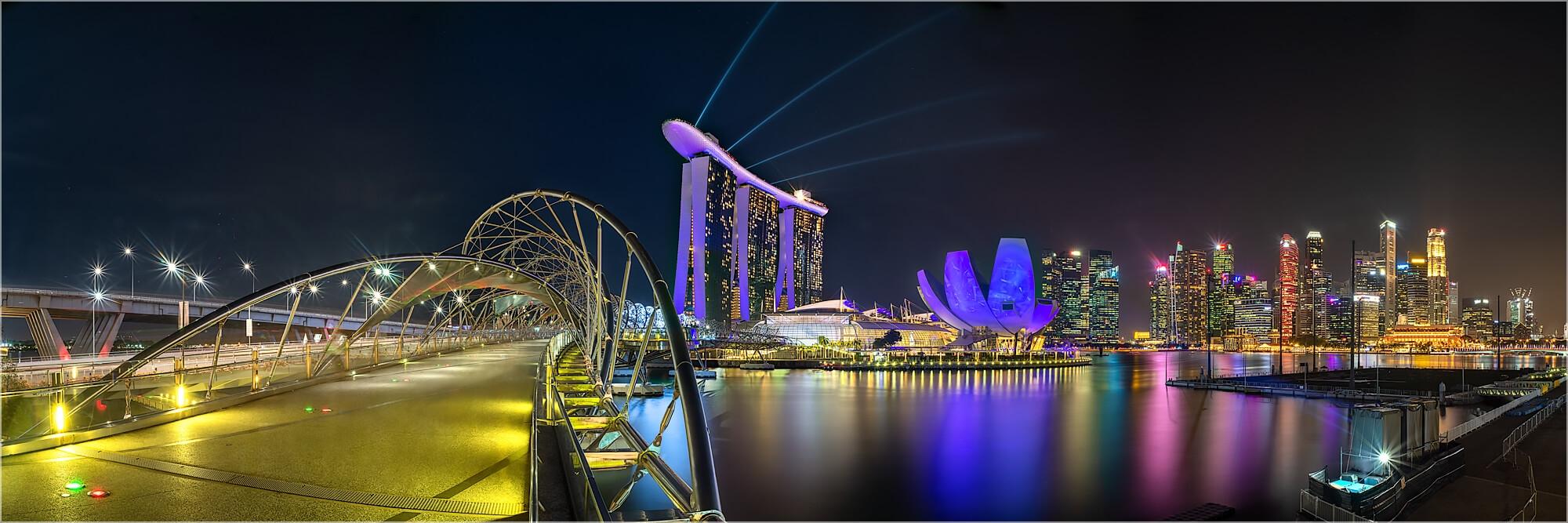 Panoramabild Helix Brücke Marina Bay Singapur