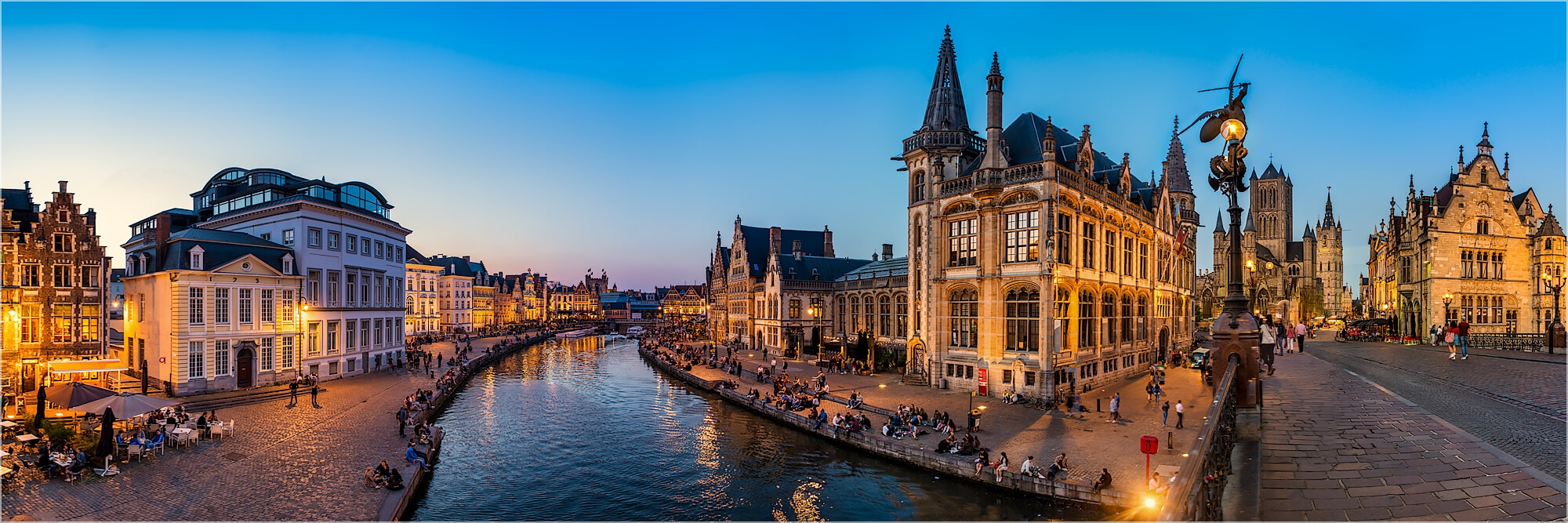 Panoramabild Gent Belgien Graslei Harbour