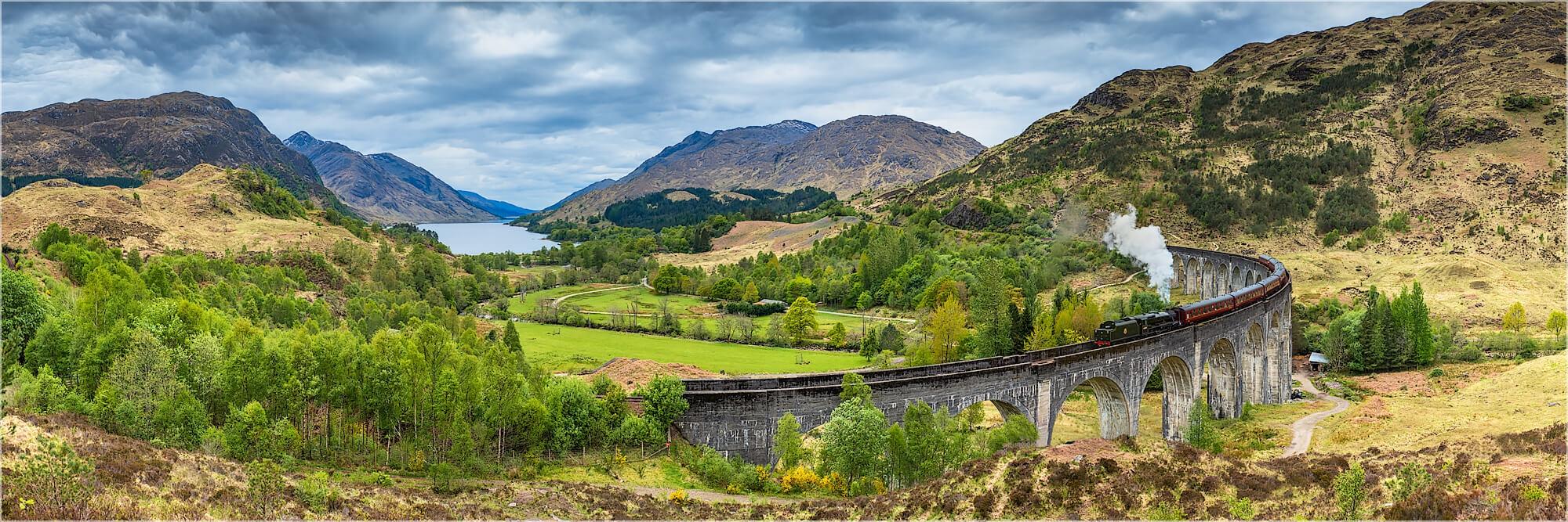 Panoramabild Glenfinan Viadukt Jacobite Train Schottland