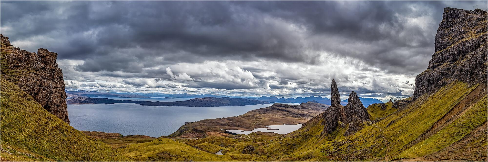 Panoramabild Isle of  Skye old man of Storr Schottland