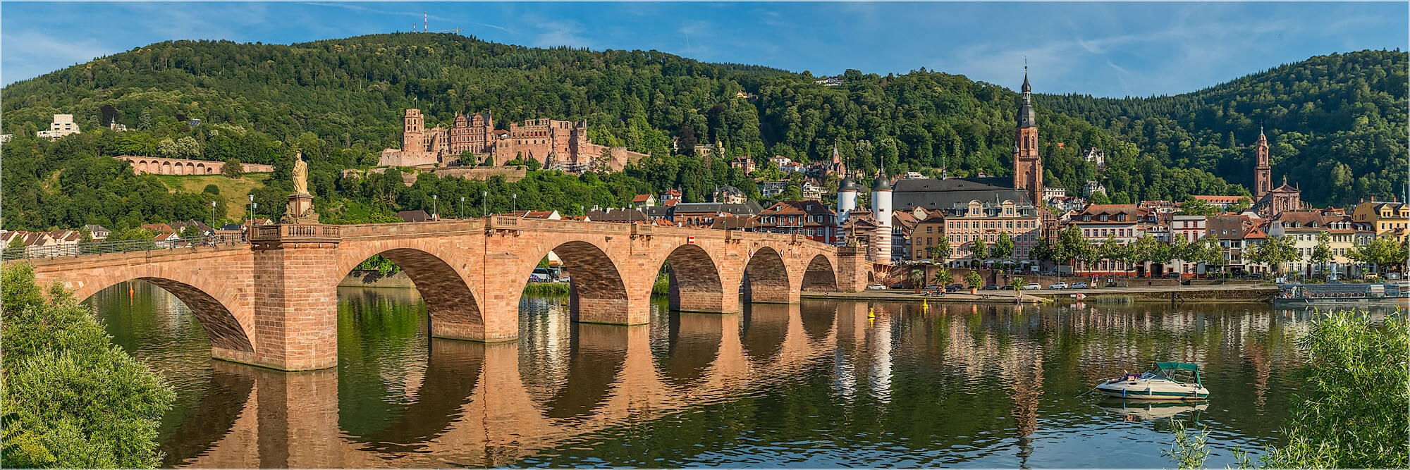 Panoramabild alte Brücke Heidelberg am Nachmittag