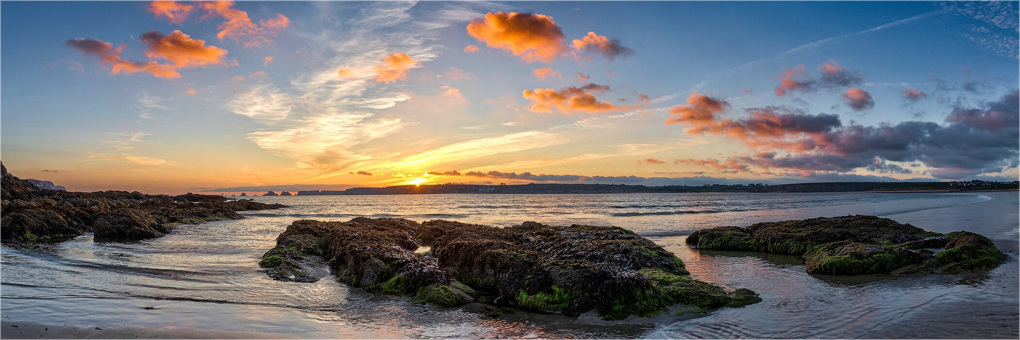 Panoramabild Bretagne Sonnenuntergang Plage de Goulien