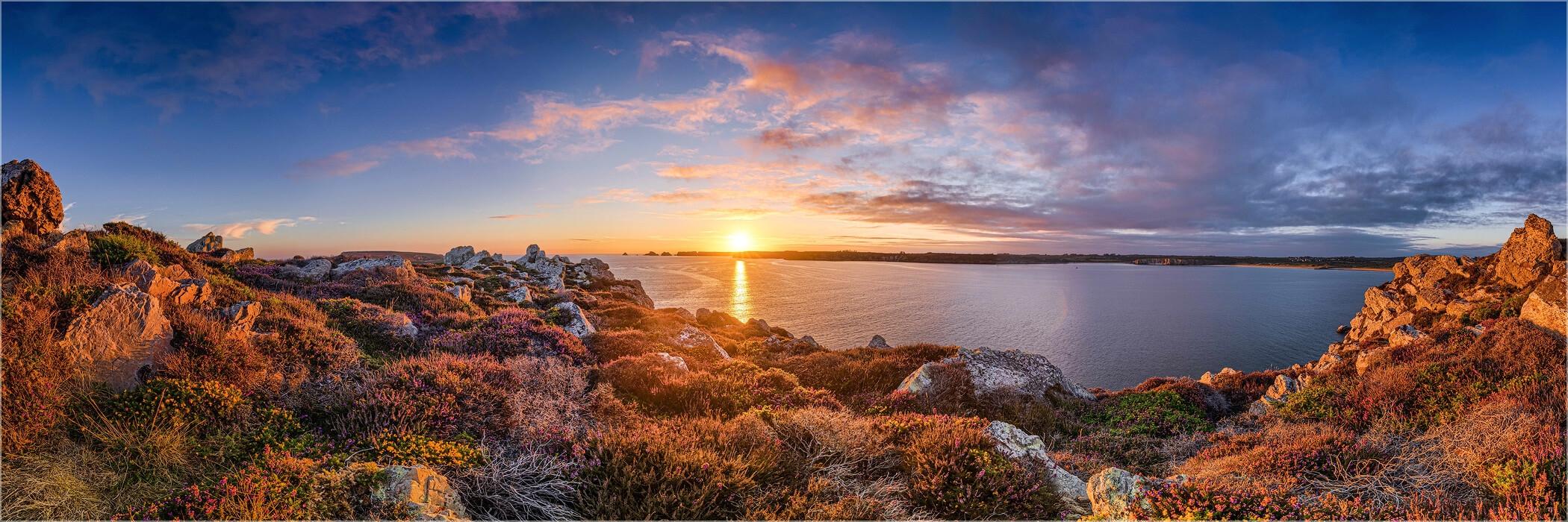 Panoramabild Sonnenuntergang Bretagne Pointe De Dinan