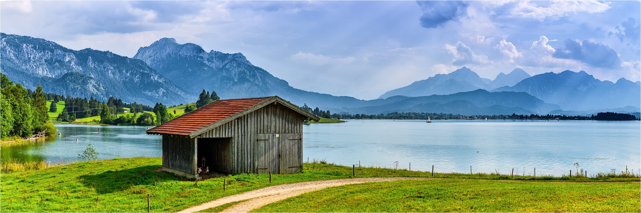 Panoramabild Sommertag am Forggensee