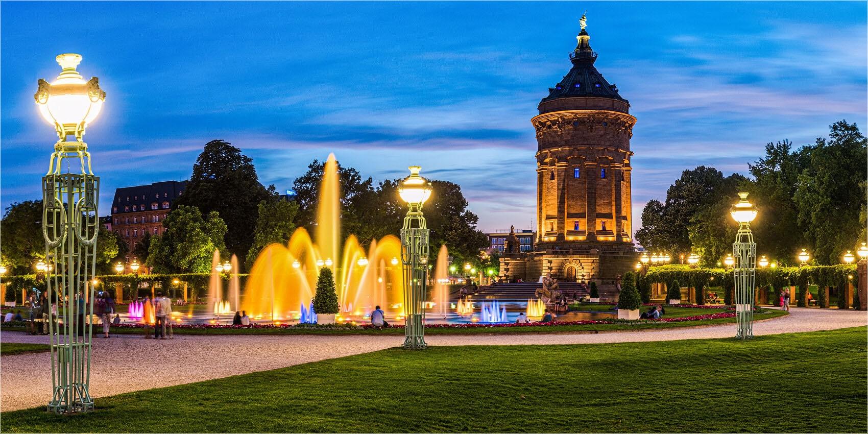 Panoramabild Mannheim Augustaanlage Wasserturm